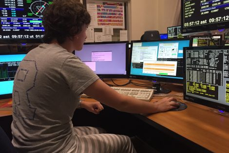 Emily Wright '19 at the Arecibo Observatory control console